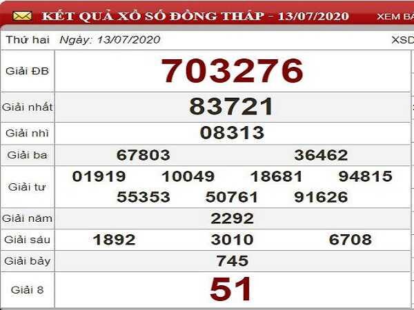 Bảng KQXSDT- Dự đoán xổ số đồng tháp ngày 20/07 hôm nay
