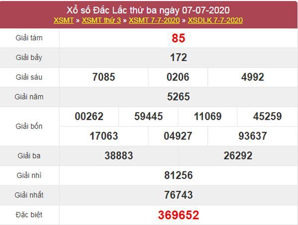 Thống kê XSDLK 14/7/2020 chốt KQXS ĐăkLắc thứ 3