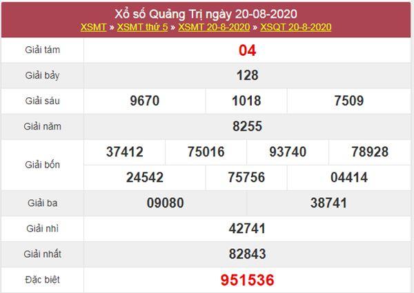 Soi cầu KQXS Quảng Trị 27/8/2020 thứ 5 miễn phí